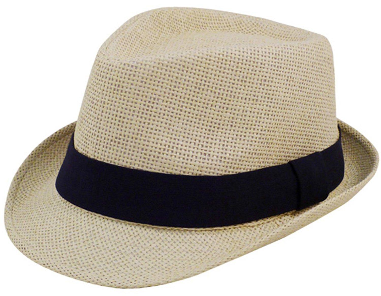 753b0a9808695 Get Quotations · Eqoba Men   Women s Summer Short Brim Natural Straw Fedora  Hat