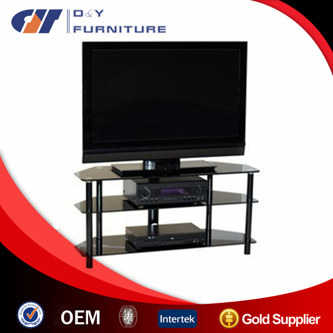 Glass TV Stand with Stainless steel tube and tempered glass