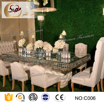 Luxury 10 Seater Mirror Gl Top Modern Banquet Dining Table Set
