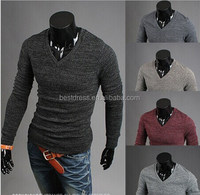 2014 Fashion pullover fashion men sweaters Men's V Neck fitted Sweater Casual Sweaters M-2XL