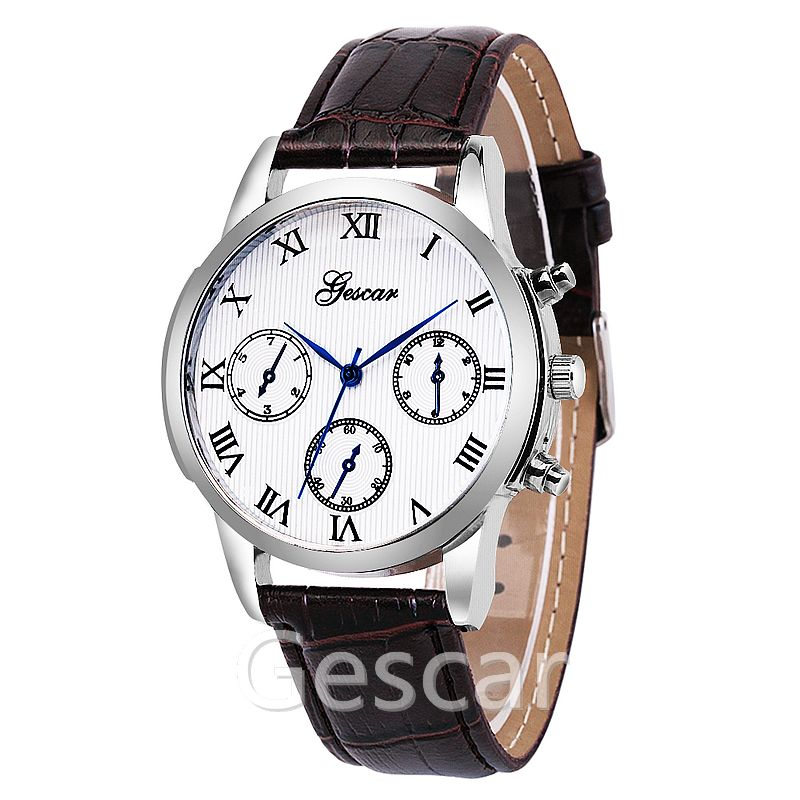 gescar-8581 three eyes roman number man casual leather wrist watch wholesale