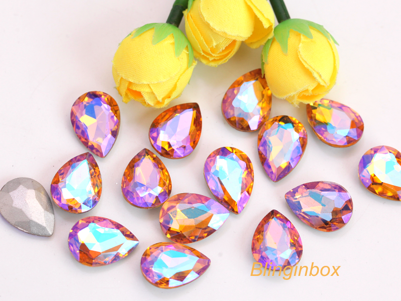 High quality teardrop crystal AB color faceted glass stones pointback rhinestone for garment