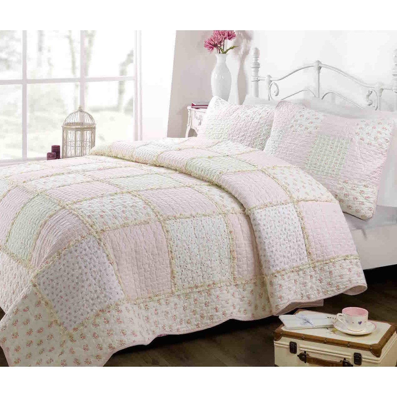 2 Piece Girls, Perfect Floral Pattern Quilt Set Twin, Contemporary Classic French Country Patchwork Design, Shabby Chic Gingham Style Themed, Charming Printed Bedding, Adorable Multi, Color