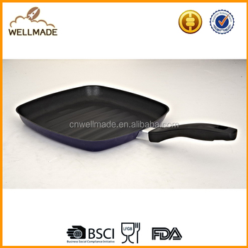 Enamel Non-stick grill pan/ Spain traditional square grill pan 27cm