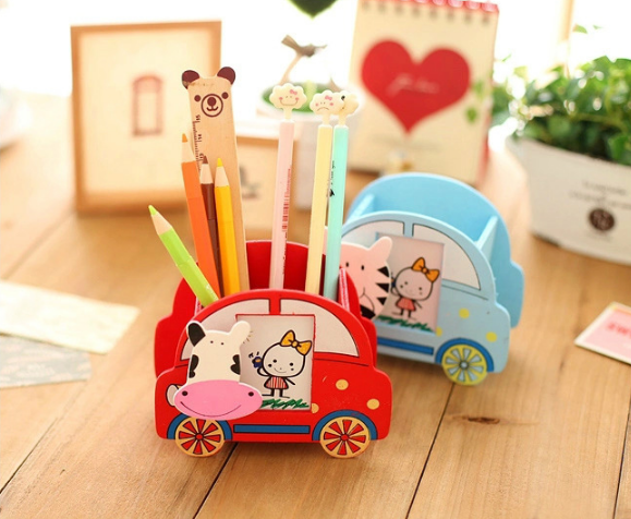 Promotion Gifts Custom Logo Cute Animal Car Shape Pen holder for Children Gifts