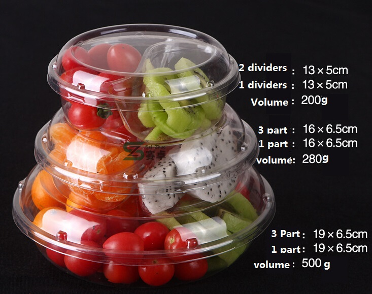 3 Compartment Plastic Round Salad Container Dry Food