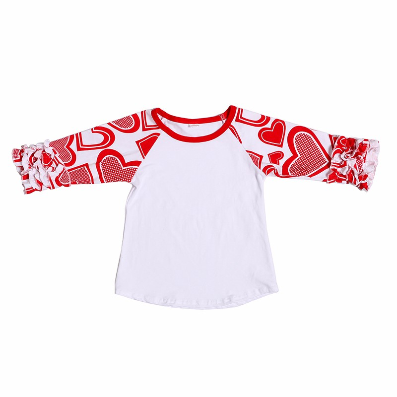 Howell cute heart pattern 3/4 ruffle sleeves icing raglan cotton t shirt