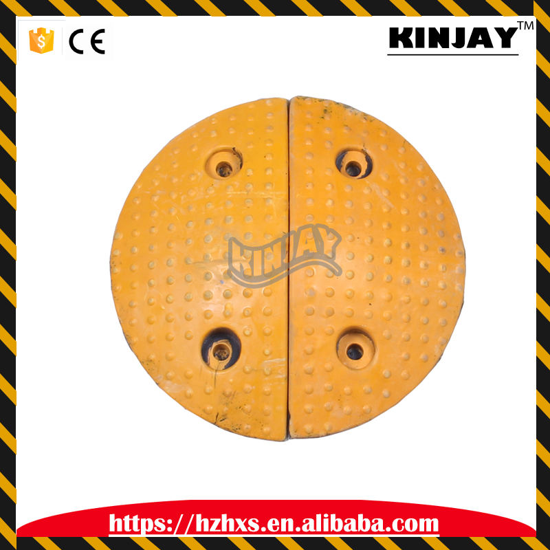 Easy-install Speed Hump Road Safety Rubber Round Speed Hump Reflective Rubber Road Hump