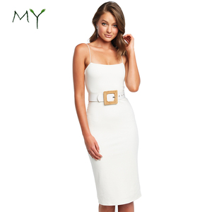 Simple square neckline midi dress bodycon knitted elegant slip dresses