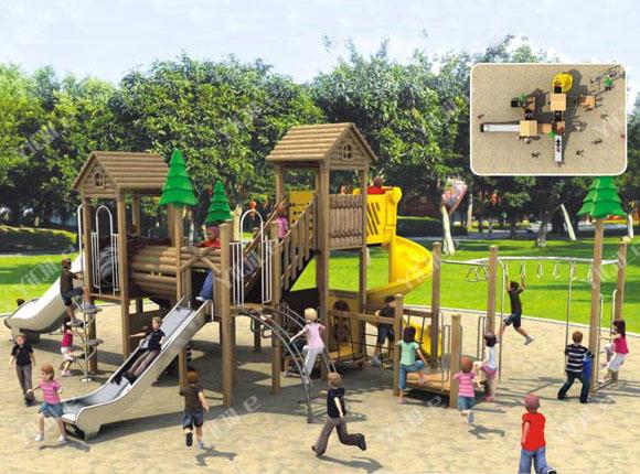 Outdoor kindergarten school wooden commercial playground for Kindergarten playground design