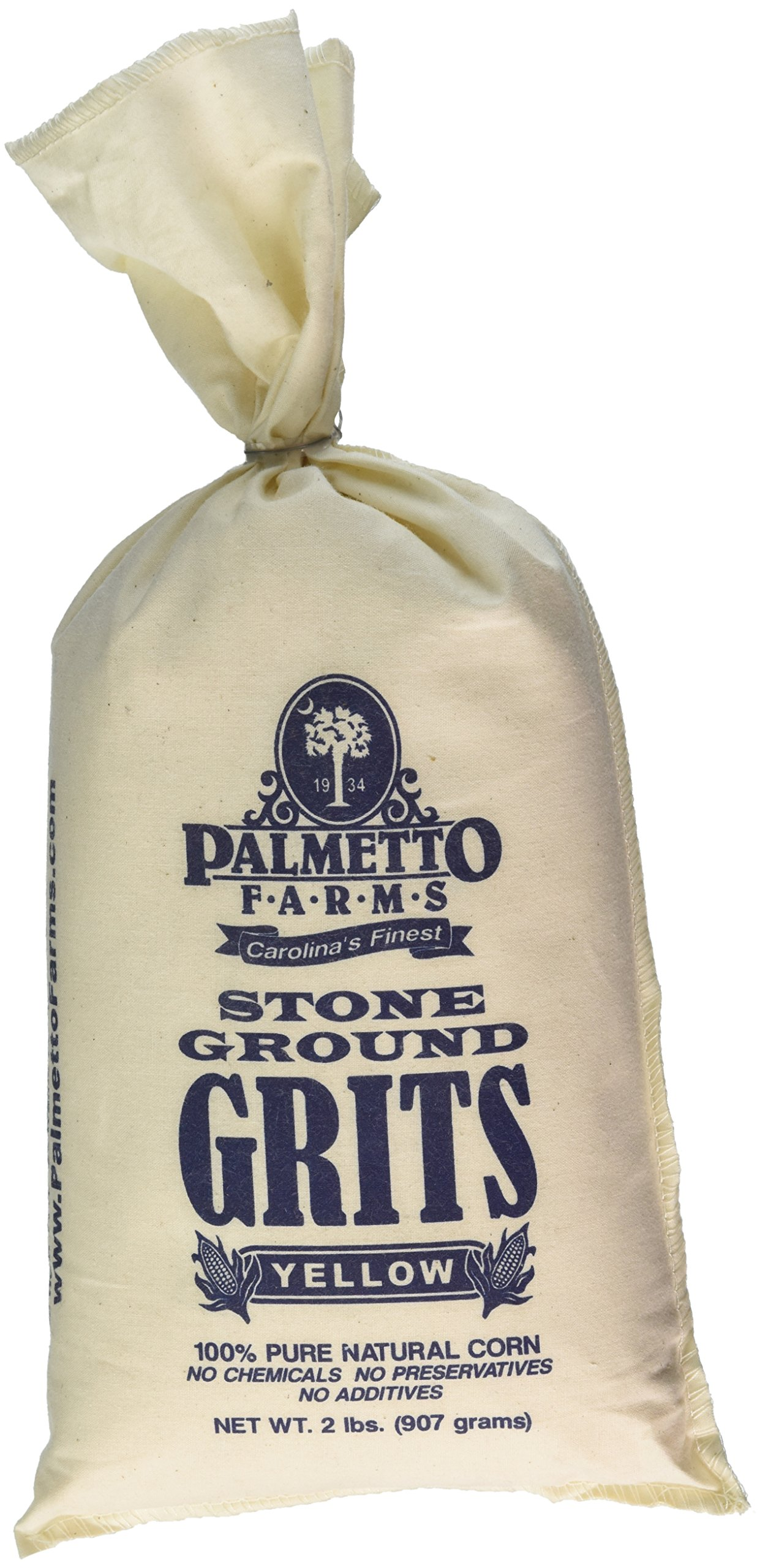Palmetto Farms Yellow Stone Ground Grits 2 LB - Non-GMO - Just All Natural Corn, No Additives - Naturally Gluten Free, Produced in a Wheat free facility - Grinding Grits Since 1934