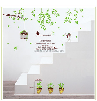 Korean Style Bird Cage Tree Branch Wall Decals