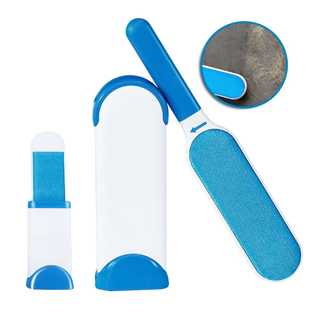 Pet Fur Remover with Self-Cleaning Base Double-Sided for Furniture and Clothes Reusable Pet Fur & Lint Remover Brush