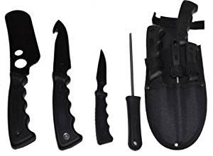 5 Pice Black Big Game Hunting Set Hunting Knife Set Hunting Knife Set With Gut Hook Hunting And Fishing Knife Set Skinning Knife Set Knife Skinning Set