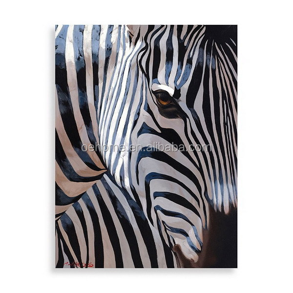 Hand painted zebra oil painting on canvas