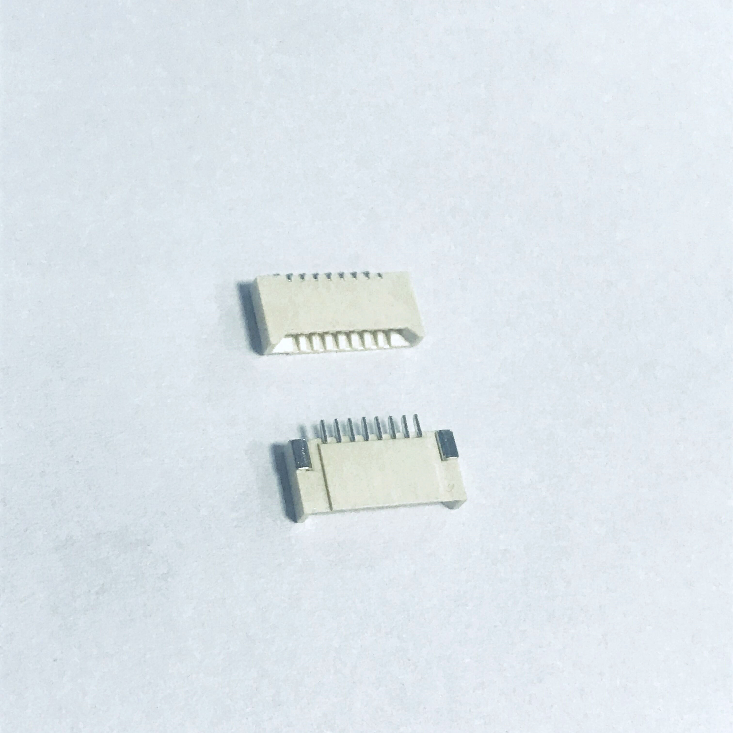 FPC 1.0mm pitch 8 contact positions dual contact, Gold Tin Plating