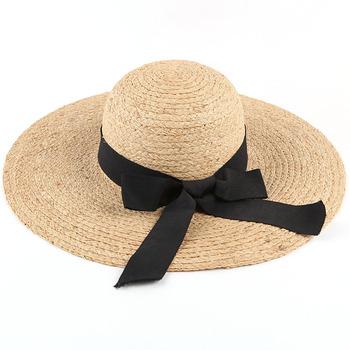 79e3b00a Design Ribbon Women Floppy Big Brim Summer Handmade Raffia Straw Hats