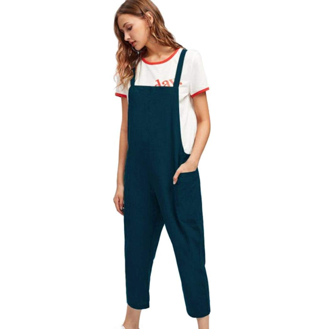 998c33a19 Get Quotations · RAISINGTOP Women Casual Dungarees Loose Cotton Pockets  Rompers Jumpsuit Halter Pants Jeans Look Overalls and Jumpers