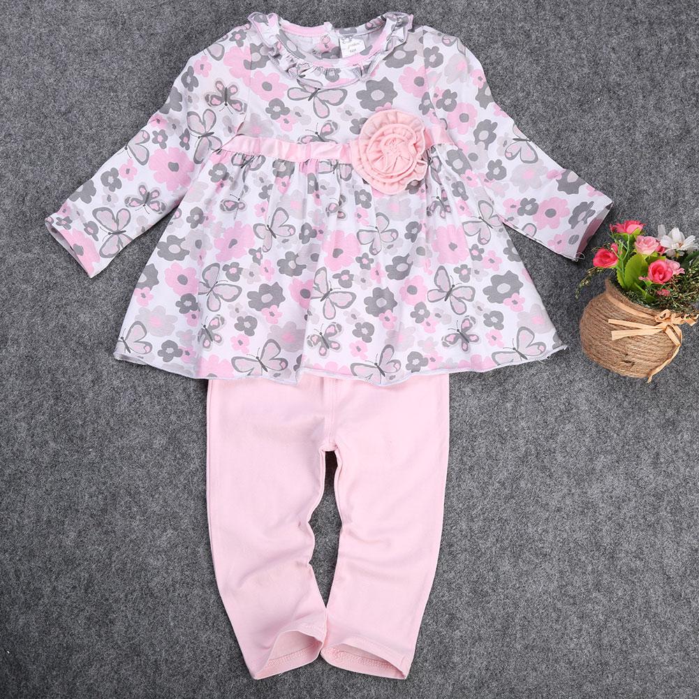 c848d20241b1 2019 Wholesale Newborn Baby 12 18 24 Months Baby Floral Peplum Long ...