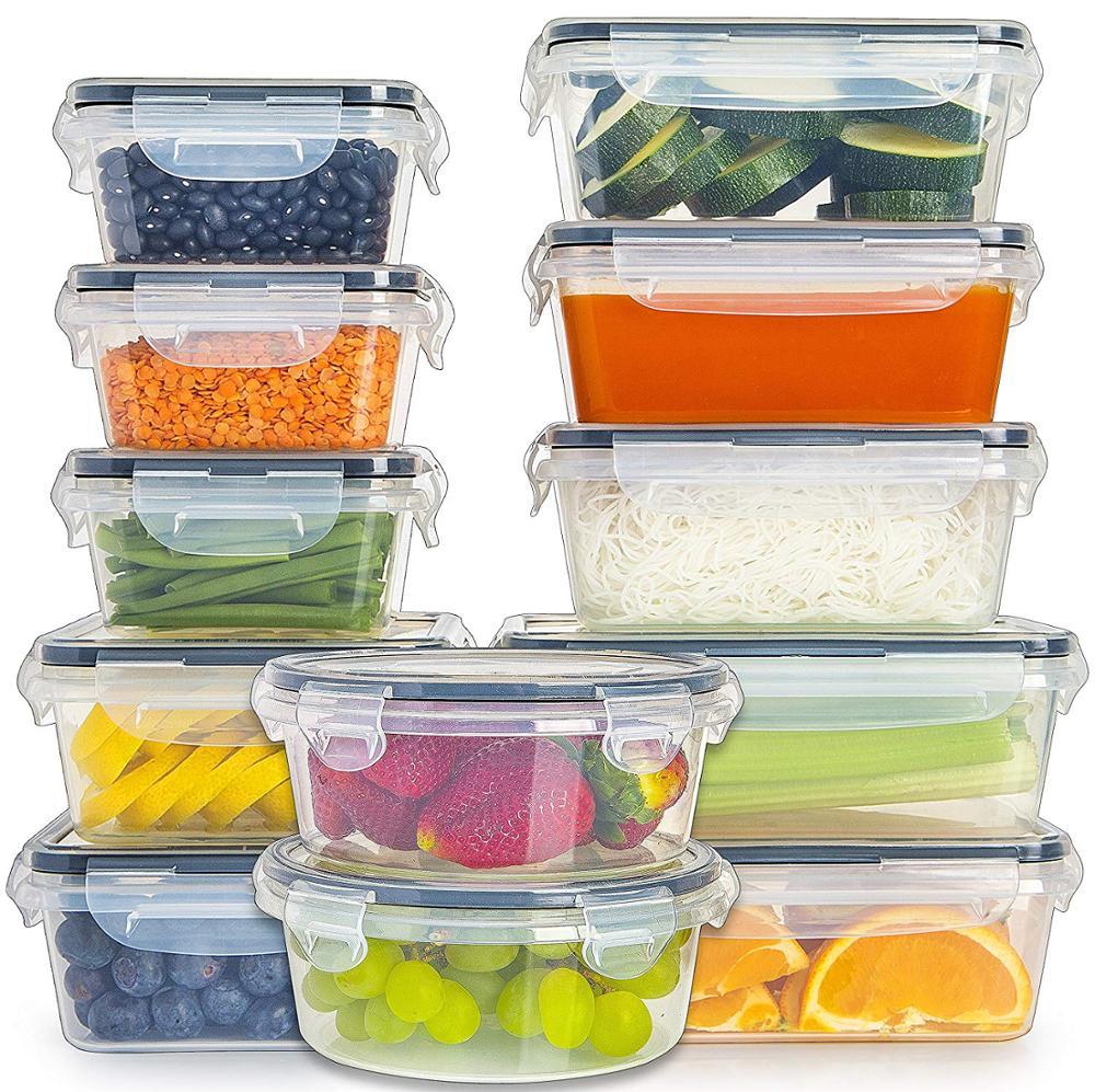 Lids के साथ प्लास्टिक खाद्य भंडारण कंटेनर वायुरोधी रिसाव सबूत आसान तस्वीर ताला और रसोई के लिए BPA मुक्त प्लास्टिक कंटेनर सेट उपयोग