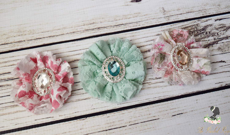 Vintage Flower Hair Clips - Lace Hair Clips - Mint Green Hair Clip - Vintage Rose Clip - Polka Dot Bows - Small Hair Clip Set - Floral Bows