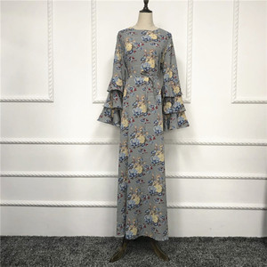Latest Modest Umbrella Ruffle Sleeve floral Printing Thick African Print Long Maxi Dress Pakistan Fashion Bollywood Kaftan