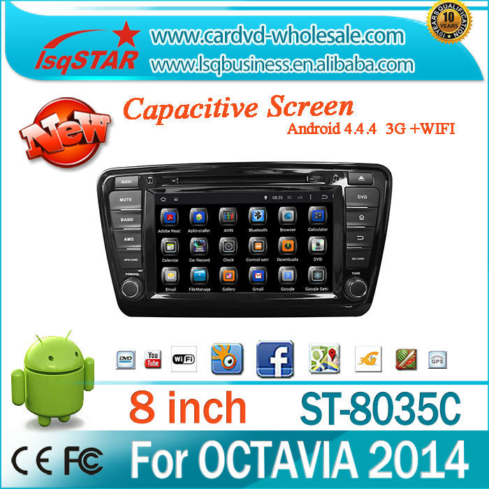 Android 4.4 car DVD with Steering wheel control mirror link OBD 3g/wifi GPS for Skoda OCTAVIA 2014 audio radio system