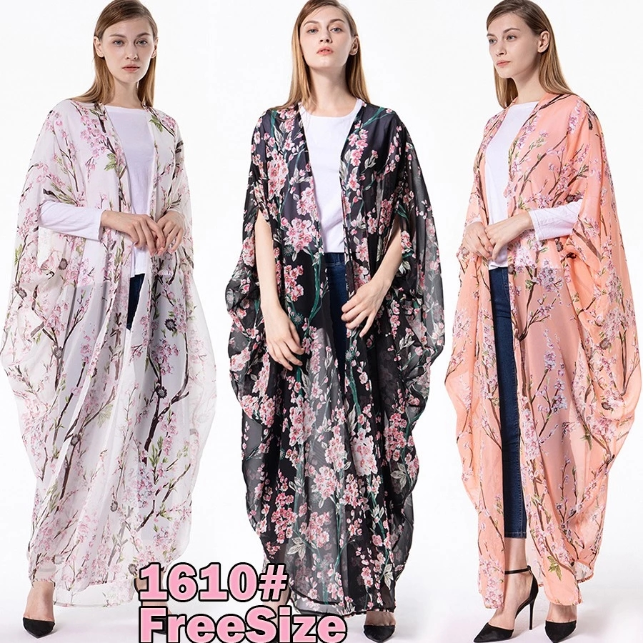 1610#Hot Selling in Dubai Stylish Fashion Chiffon Maxi Kimono Modest Muslim Dresses Butterfly Abaya For Women Islamic Clothing
