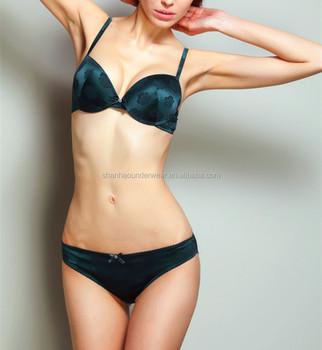8373dd9acd1 French luxury rose pattern jacquard satin push up bra and hipster panty set