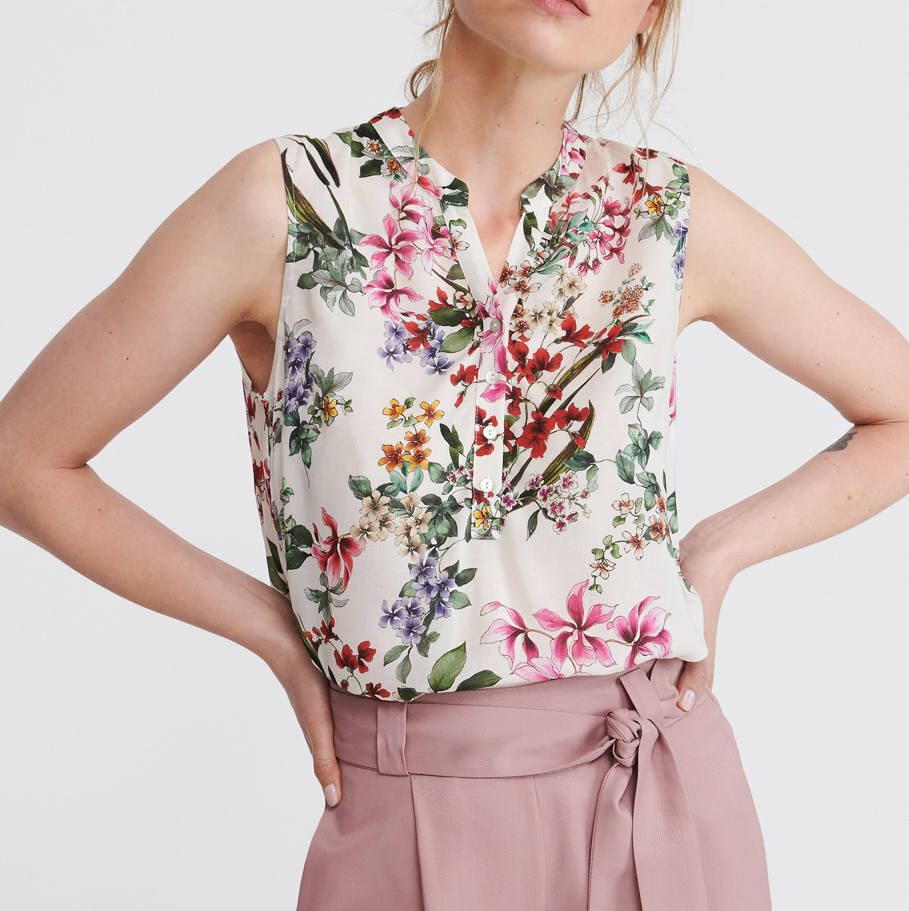 Summer Office Print Chiffon Women Top
