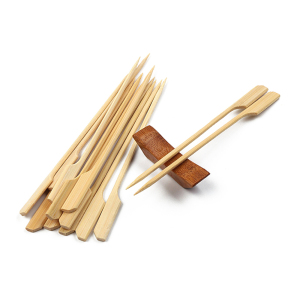 BBQ Sushi Paddle Shape Fruit Picks Bamboo Flat Skewer