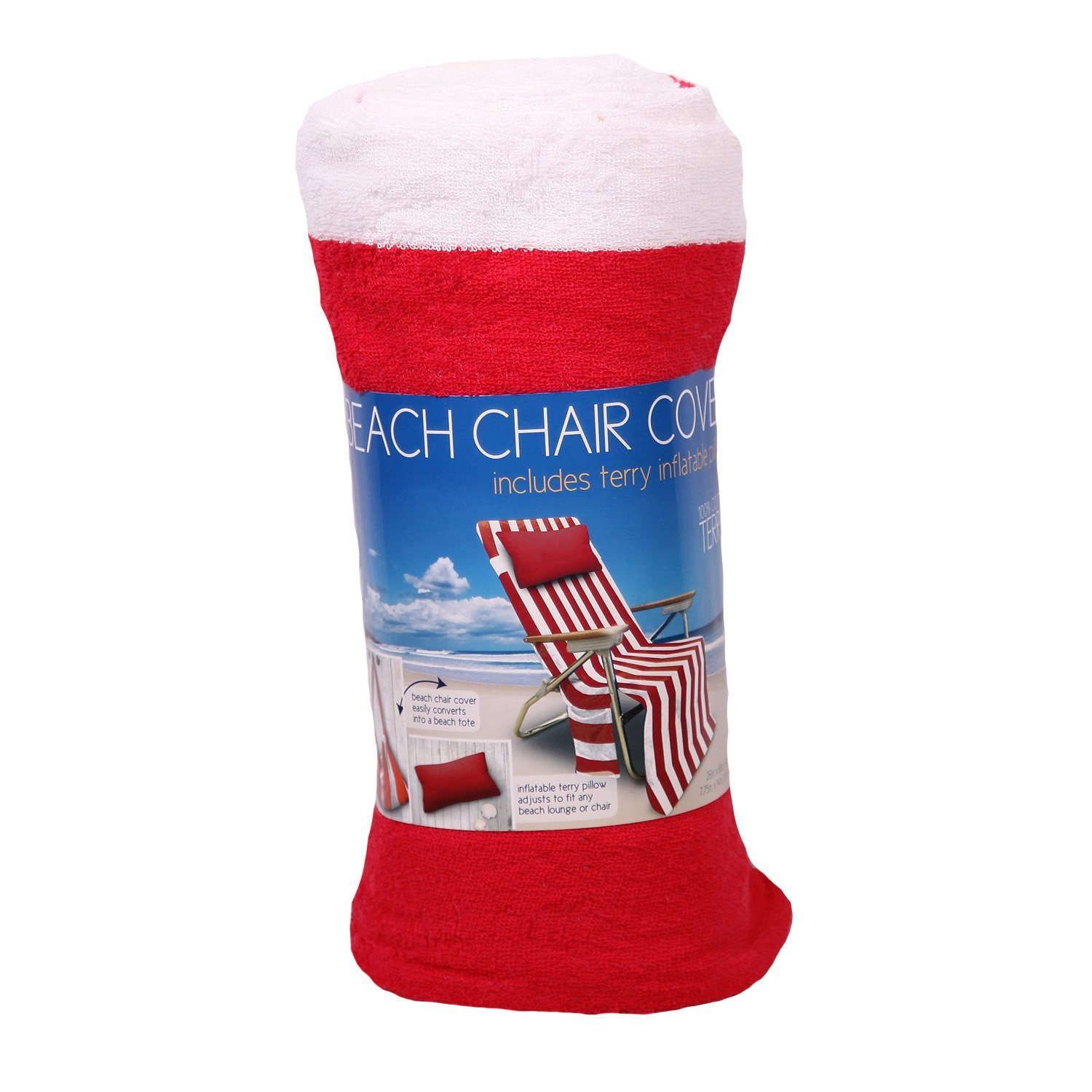 Beach Chair Cover Includes Terry Inflatable Pillow Converts To A Tote Red Stripe
