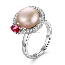 2017 Promotion 925 Sterling Silver Ring With Clear Zircon And Freshwater Pearl Pave Ring Sets 1-1y2508-52320