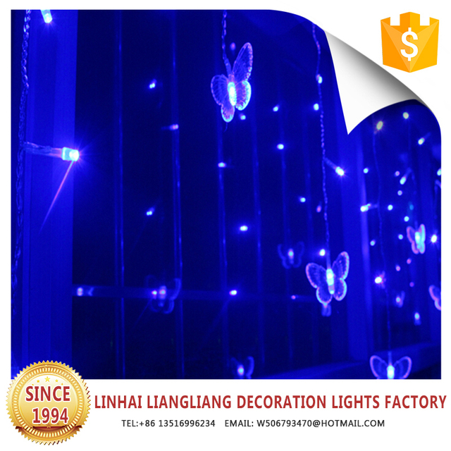 wholesale festive decoration led christmas waterfall lights blue butterfly curtain