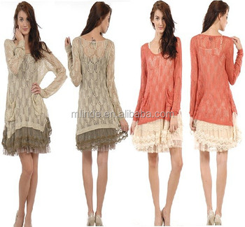 Sweater Dress Women With Crochet Hem Lace Sleeve Manufacture ...