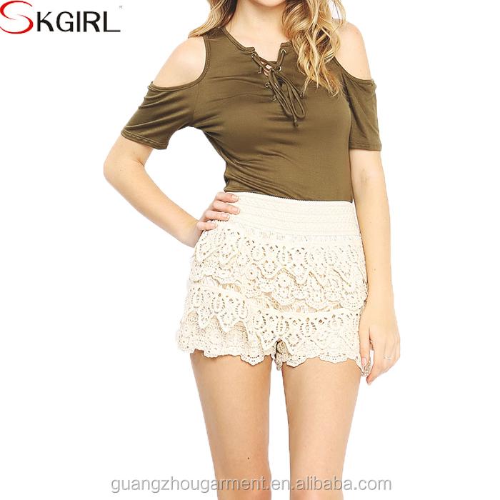 Summer Korean Elastic Waist Tiered Crochet Lace Mini Womens Pants