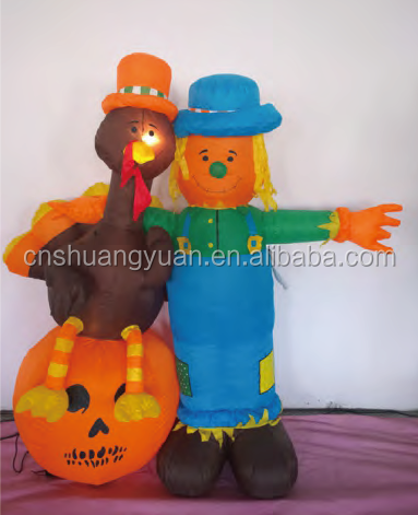 180CM Inflatable Santa Claus And Duck With Lights