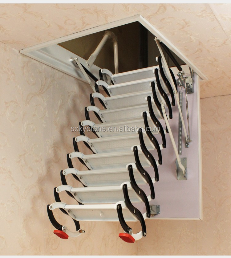 Remote Telescopic Retractable Attic Stairs Loft Ladder For