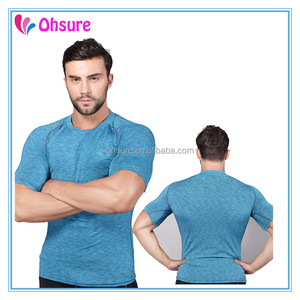 Heathred color slim fit gym t shirt nylon sports t shirt