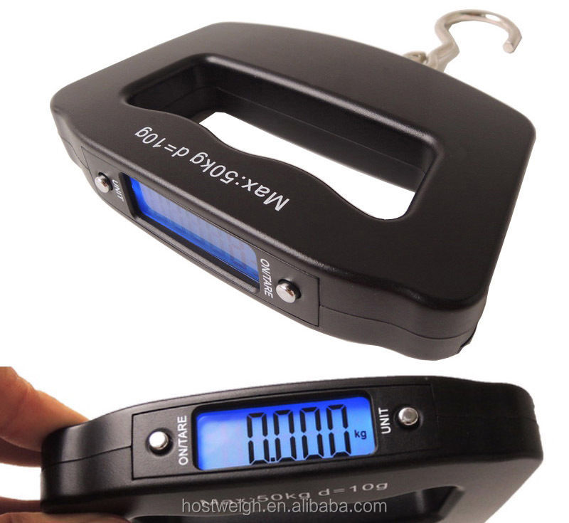 Hostweigh Electronic Handing Scale Blue Backlight Big Lcd Display with CE&ROHS Luggage Scales