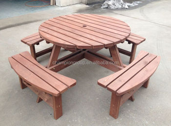 Outdoor Wood Round Picnic Table Set Buy Wood Round Picnic Table - 8 seater round picnic table