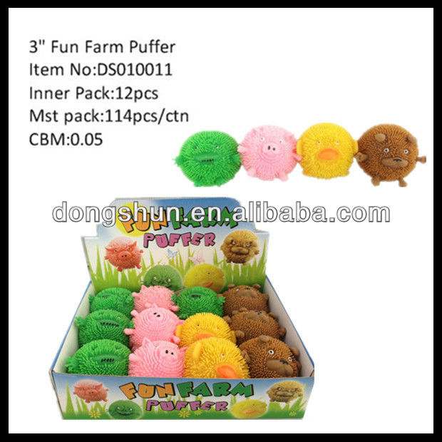 "3"" frog pig duck sheep puffer farm animals"