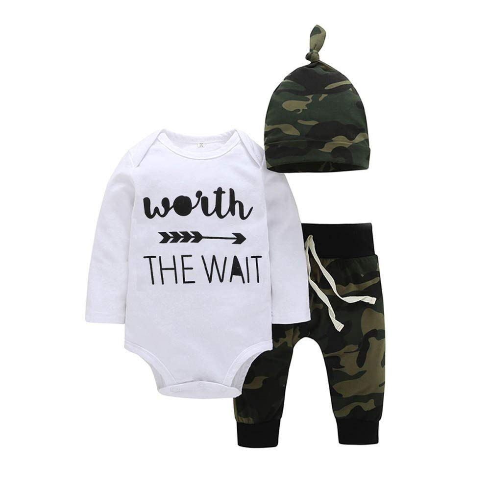 Baby Boys Girls Romper Camouflage Long Sleeve Jumpsuit Autumn Winter Casual Clothing 3PCS (18-24 Months, White)