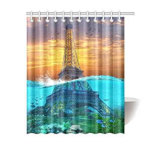 InterestPrint Sunset Sunk Eiffel Tower Home Decor, Underwater Blue Ocean Creatures Polyester Fabric Shower Curtain Bathroom Sets with Hooks 60 X 72 Inches