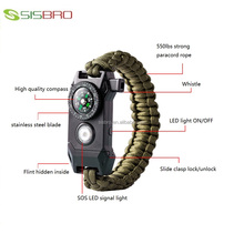 2018 hot sale 6 in 1 paracord bracelet with LED light multifunction