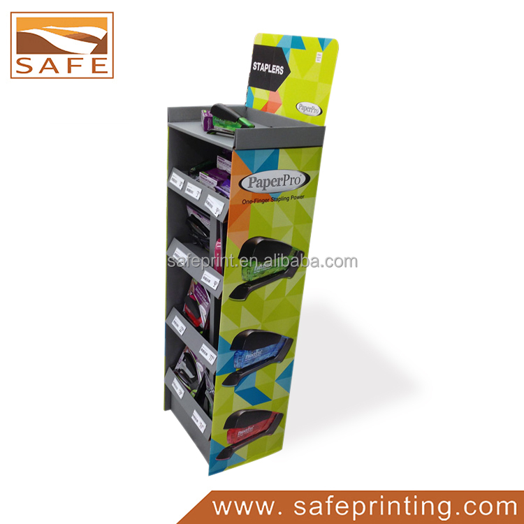 Supermarket Exhibition Retail Recycle POP Cardboard Display Shelf For Book Stapler, Shopping Mall Display Stand