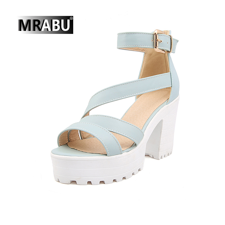 ankle strap rubber sole platform chunky shoes woman high heel sandals