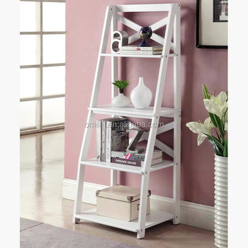 white ladder shelf book leaning bookcase bookshelf storage decor rack wall stand