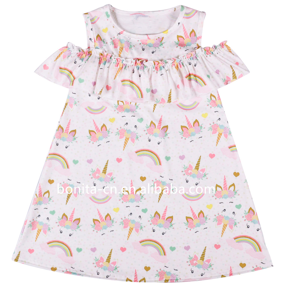 New design off shoulder cute Rainbows and Unicorns print summer baby girls dresses  kids clothes off shoulder toddler girl dress