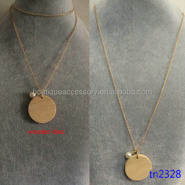 Fashion Pendant Personalized Disc Pearl Wooden Necklace